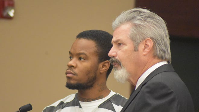 Timothy Batts, left, and attorney John Pellegrin addressed Judge Dee David Gay in a Sumner County courtroom Friday, Oct. 21. Batts pleaded not guilty to all charges tied to the shooting death of his 11-year-old daughter, Timea.