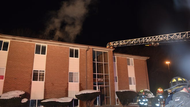 About 75 people were displaced after a south-side apartment building caught fire Thursday night.