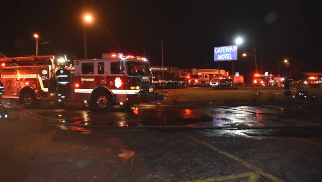 Indianapolis firefighters battled a blaze at the Gateway MOtel on the west side Thursday night. No one was hurt but 15 people were displaced.