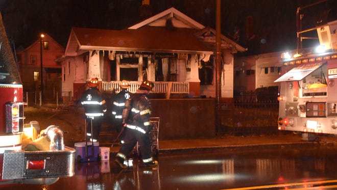 A woman died in a fire at a home in the 3800 block of North Capitol Avenue.