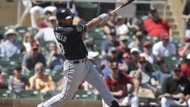Chris Colabello connects on a three-run homer for Cleveland in spring training of the 2017 season.