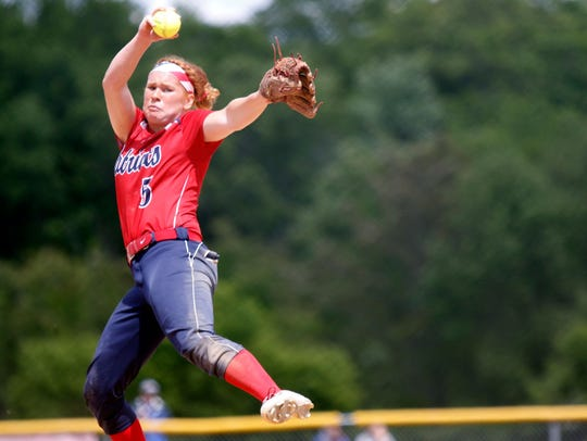 Paige Rauch winds up for Binghamton during Class AA