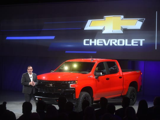 Alan Batey, President GM, North America, unveiled the 2019 Chevy Silverado at Eastern Market's Shed 3 on Saturday, January 13, 2018.