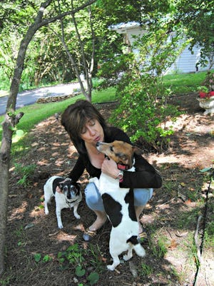 Joan Grimm with Scooby and Henry