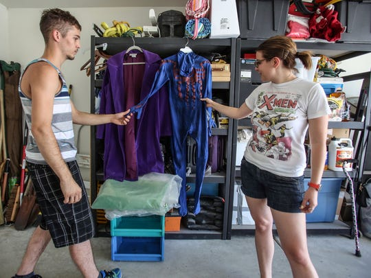 Joshua Ogaard Anseko, 22, shows off his Spiderman costume that his girlfriend Jules Freese, 24, help him make. Photo taken on July 20, 2016 in Whitewater.