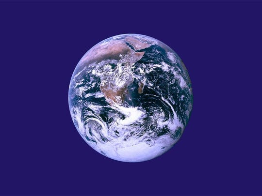 """""""The Earth Flag,"""" designed in 1969 by John McConnell."""