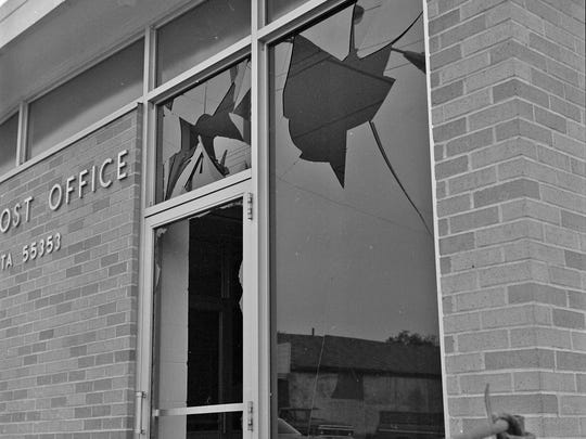 A blown-out window at Kimball Post Office is shown