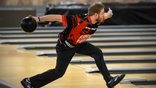 Brady Stearns bowls Thursday, May 3, at Southway Bowl in St. Cloud.