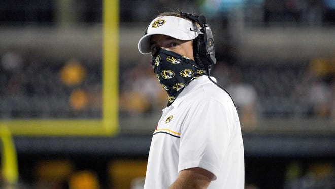 Missouri head coach Eliah Drinkwitz looks on from the sidelines during the second half against Alabama at Faurot Field on Saturday.