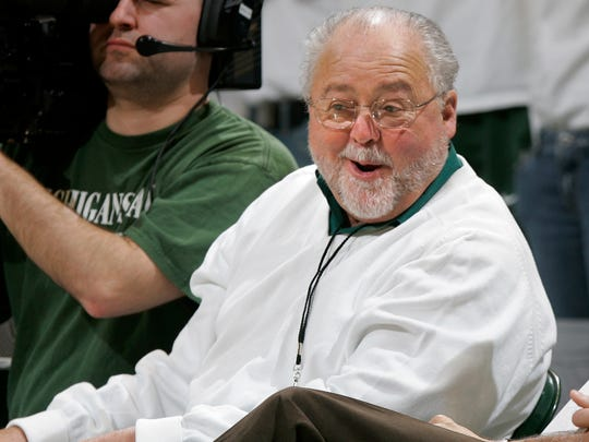 "Peter Secchia, shown here in 2006 on the sidelines of an MSU basketball game, says parents who are worried about their children's safety should ""take them somewhere else."""