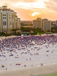 Aerial view of the Marco Island Sunrise Easter Service.