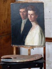 Rowland Thomas Robinson (1881-1951) and Elizabeth Donoway Robinson (1882-1961) wedding portrait painted by Rachel Robinson Elmer, circa 1907.