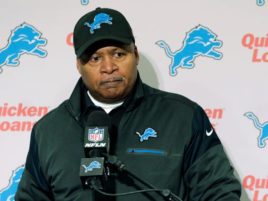 Detroit Lions head coach Jim Caldwell listens to to a question at a news conference following an NFL football NFC wild card playoff game against the Seattle Seahawks, Saturday, Jan. 7, 2017, in Seattle. The Seahawks beat the Lions 26-6. (AP Photo/Stephen Brashear)