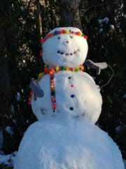 Megan Webb's snowman at Dixon Park in Christmount.