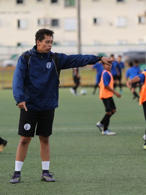 Derrick Cruz, a Boys U12 Division Coach of the United Airlines GFA Center of Excellence, holds a training session at the Guam Football Association National Training Center in this file photo.