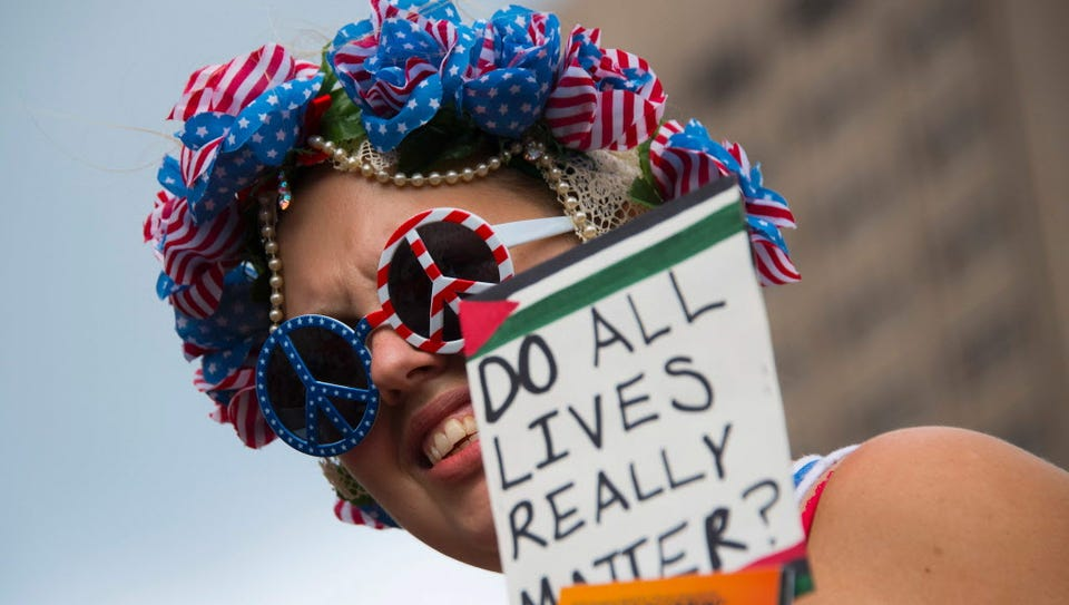 During an anti-Trump rally in Cleveland on July 18,