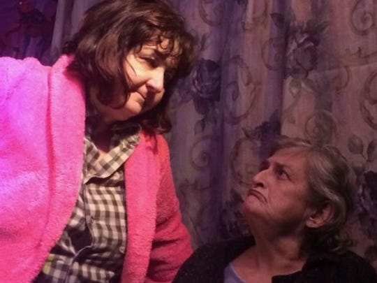 """Maureen Folan (left) as Clelia Patrizio and Mag Folan as Pat Burgemeister, always at odds, in A.C.T Studio Theatre's """"The Beauty Queen of Leenane."""""""