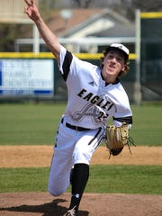 Abilene High pitcher Ryan Johnson throws a pitch during the Eagles' 8-1 win over Haltom City Haltom in the District 3-6A opener for both teams Tuesday at Blackburn Field.