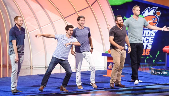 Dude Perfect members speak onstage at the Nickelodeon Kids' Choice Sports Awards. The five friends who love to show off their stunts and tricks on YouTube raked in 2017 earnings of $14 million according to Forbes.