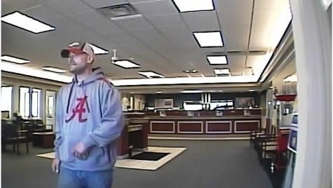 A photo of the serial bank robber Metro Police said robbed Fifth Third and SunTrust branches in South Nashville in recent weeks.