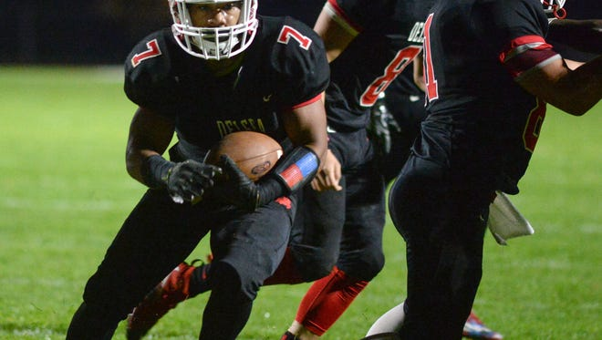 Delsea's Aidan Borguet scored five touchdowns in a 43-12 victory over Woodrow Wilson on Friday night.