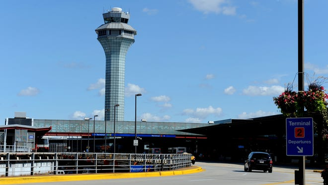 The air traffic control tower at Chicago's O'Hare Airport.