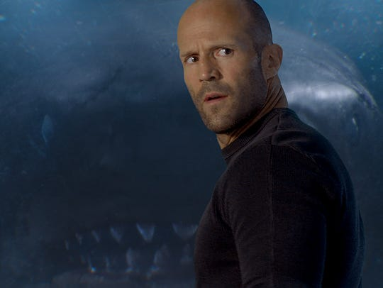 "Jason Statham deals with a water beast in ""The Meg."""
