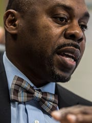 Burlington School Superintendent Yaw Obeng talks with