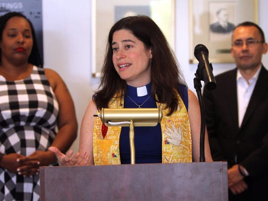 Rev. Alison B. Miller speaks during a Town Hall news