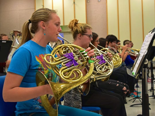 Musicians in New Mexico State University's Wind Symphony rehearse on Feb. 16, 2016, in preparation for their performance at the Sousa Band Festival, taking place in the John F. Kennedy Center for the Performing Arts in Washington, D.C. this April.