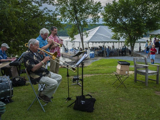 The Onion River Jazz Band plays as diners enjoy the Thursday evening lobster buffet at the Basin Harbor Club in Vergennes on June 25.