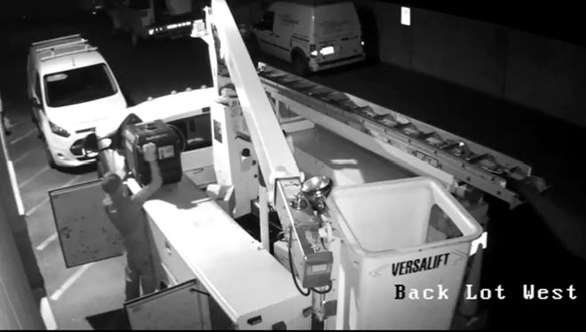A man was filmed stealing a generator from a truck in Peoria on Nov. 7, 2016.