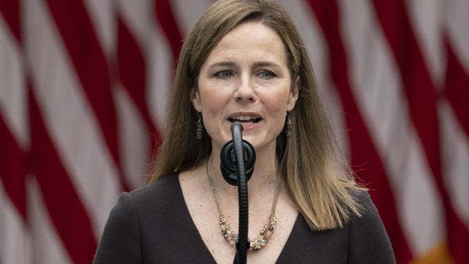 Judge Amy Coney Barrett speaks Saturday after President Donald Trump announced her as his nominee to the Supreme Court in the Rose Garden at the White House.