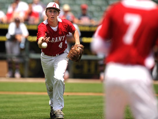 Albany pitcher Brian Hamilton (4) flips the ball to