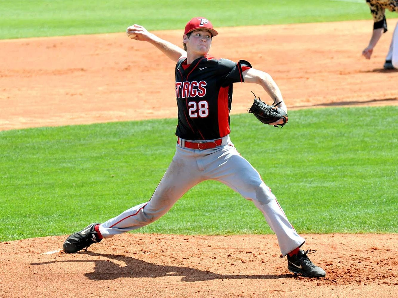 Mike Wallace delivers a pitch in Fairfield's road game against Central Florida on March 15.