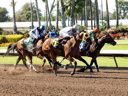 In a photo provided by Benoit Photo, San Onofre and jockey Edwin Maldonado, center, outleg Wild Dude, with Kent Desormeaux, right, and Raised a Secert, with Agapito Delgadillo, left, to win the Grade III, $100,000 Los Angeles Stakes horse race Saturday, April 16, 2016, at Los Alamitos Race Course in Cyrpess, Calif. (Benoit Photo via AP)