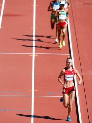 U.S. runner Kellyn Taylor of Flagstaff (front) was a bronze medal in the 5,000-meter Tuesday at the Pan American Games.