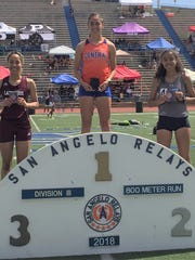 Central High School's Bailey Kinney won the Division III 800 meters Saturday, March 24, at the 60th Annual San Angelo Relays at San Angelo Stadium. It was her third time in four years to win the gold medal in that event.