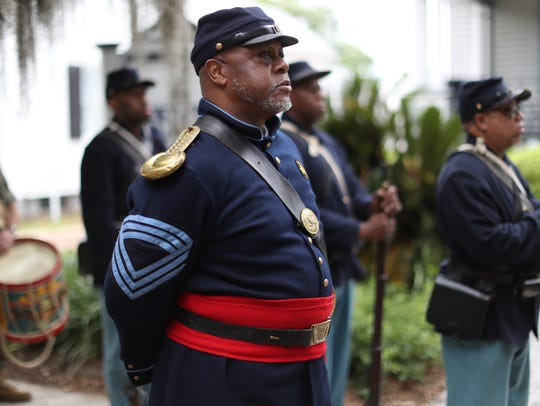 Jarvis Rosier, dressed in Civil War era second infantry