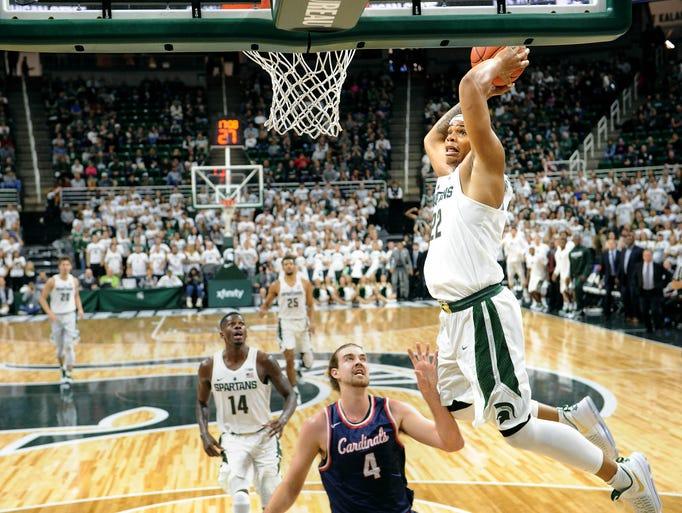 Spartan freshman Miles Bridges skies in for a huge