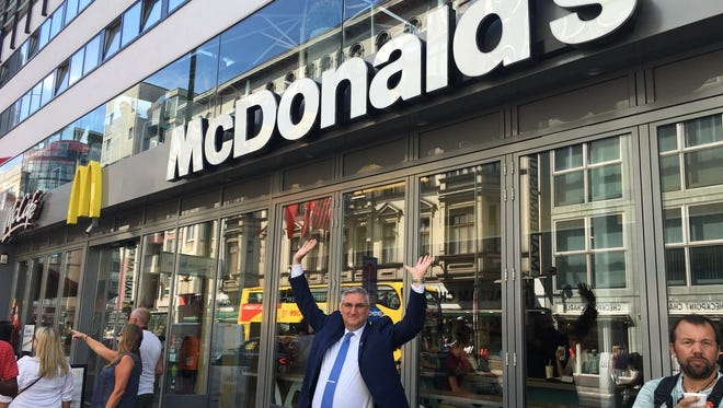 While on a trade trip to Berlin, Indiana Gov. Eric Holcomb visited Checkpoint Charlie from the Cold War era and then stopped off at the McDonald's just across the street.
