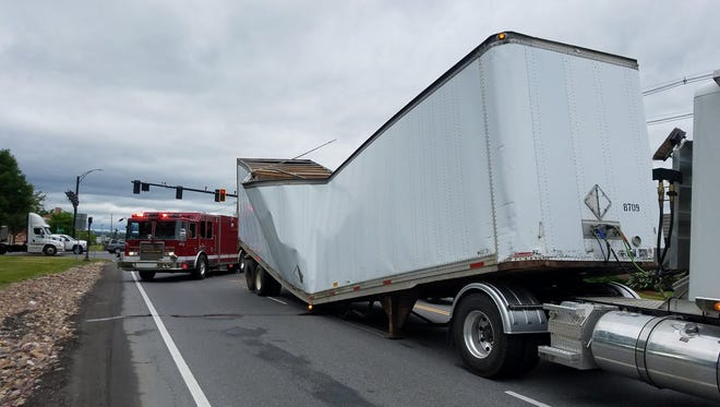 A tractor trailer broke in half on Vermont 2A in Williston and caused traffic delays in the morning of Thursday, June 14, 2018.