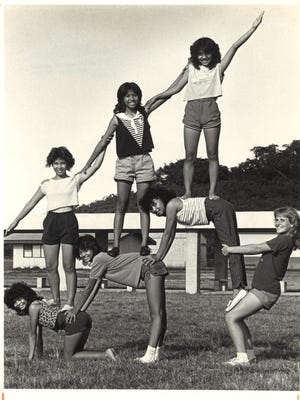 GW junior varsity cheerleaders practice their formations in preparation for a Saturday football game against Simon Sanchez. It was Nov. 9, 1984 and the Geckos hoped to spoil Sanchez's homecoming. Bottom row, from left, are Bernadette Quichocho, Yvonne Guerrero, Patty Anciano and Vickie Kinder. Top row, from left, are Eleanor Bejerana, Ratna Celes and Eva Villa.