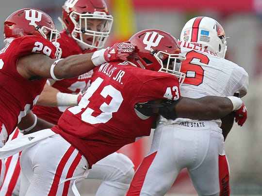 IU linebacker Dameon Willis (shown here against Ball State in 2016) provides some experience for Tom Allen's defense.
