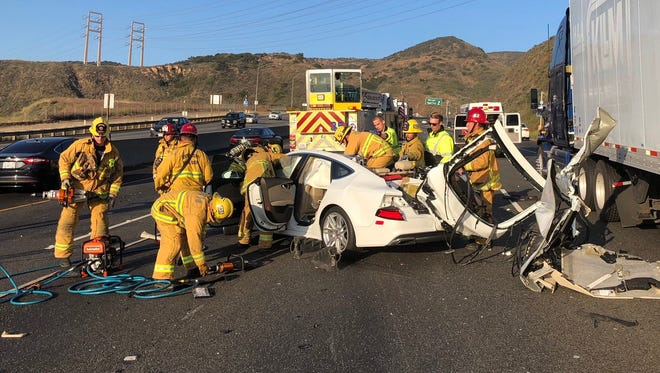 Crews had to rescue one person from a crash with a semi on the southbound Highway 101 on Saturday evening.