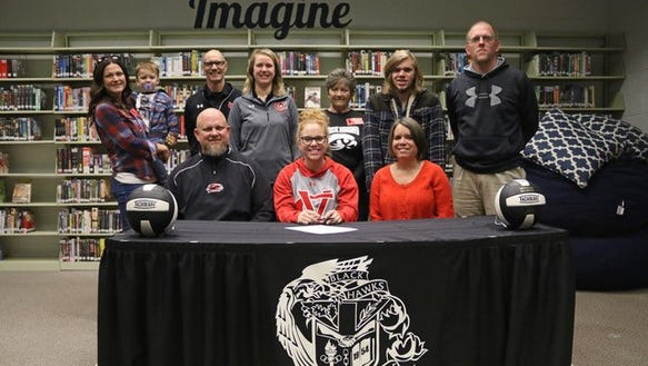 North Buncombe's Brey Myers signed to play volleyball at Catawba Valley Community College Wednesday.
