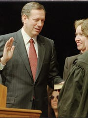Former New York Gov. George Pataki at his inauguration in 1995. Critics pushed for Pataki to open the books on his inauguration committee.