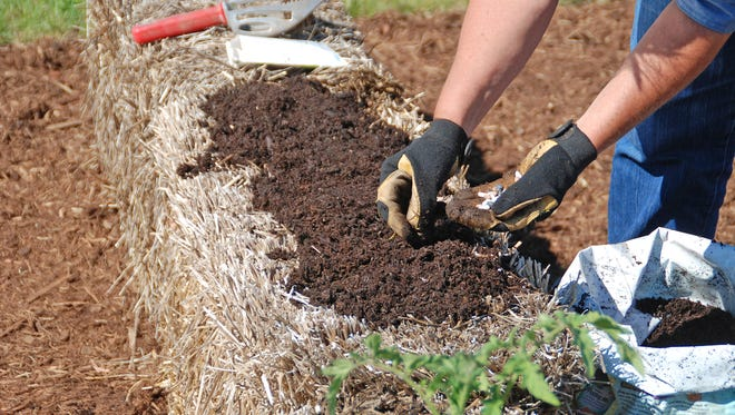 Create a planting bed for seeds by covering a straw bale with a 1- to 2-inch layer of planting mix.