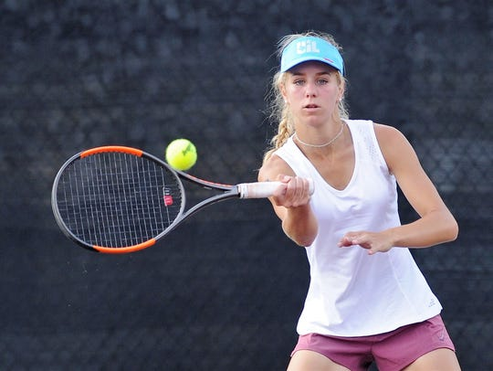 Eula's Anna Masonheimer watches the ball during the Class 1A girls singles final at the UIL state championships in College Station on Friday.
