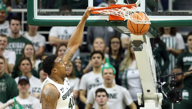 Michigan State Spartans forward Nick Ward (44) dunks the ball against the Purdue Boilermakers during the first half of a game at the Jack Breslin Student Events Center on Saturday, Feb. 10, 2018.